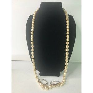 "Vintage Faux Pearl Necklace 40"" Hoop Earrings Sign"